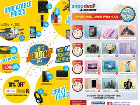 E-tailers like Flipkart, Snapdeal and Amazon fighting neck to neck this Diwali