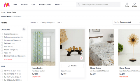 Myntra Launches 'Home Centre' with 2000 New Home and Living Styles